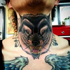 Wolf Tattoo On Front Side Neck