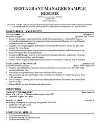 Restaurant Manager Resume Objective Free Example And
