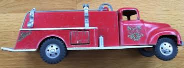 100 Pink Fire Truck Toy VINTAGE 1957 TONKA TOYS PRESSED STEEL SUBURBAN FORD 5 PUMPER FIRE