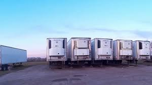100 Truck Reefer Semi Trailers In The Yard With Reefer Units Stock Video Footage