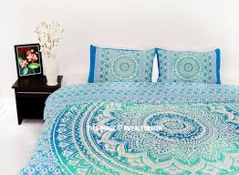 Sea Green King Bohemian Bedding Ombre Mandala Duvet Cover Set with