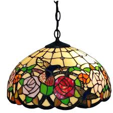 Plug In Swag Lamp Kit by Amora Lighting Tiffany Style 2 Light Hummingbirds Floral Hanging