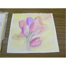 Easy Watercolor Paintings Tulips Leaves