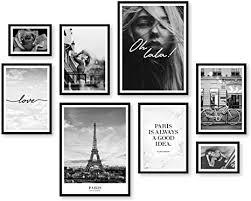 artfaves poster set city deko fashion schwarz weiß 8 moderne wandbilder premium mix 30x40 21x30 13x18 bilder wohnzimmer