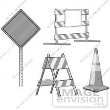 Clip Art Graphic of a Road Block Barricade Traffic Cone And Warning