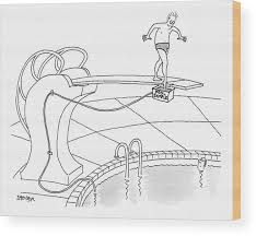 Swimming Pools Wood Print Featuring The Drawing A Man Is On Diving Board Above