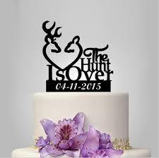 The Hunt Is Over Wedding Cake Topper Deer Toppers Antlers Vintage Rustic