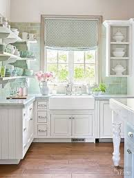 Whitewashed And Mint Green Shabby Chic Kitchen Decor