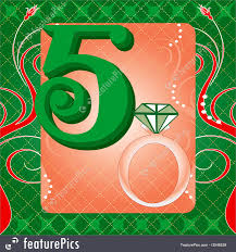 Days Of Christmas Vector Illustration Card For The 12 Five Golden