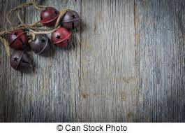 Rustic Christmas Bells And Wood Background