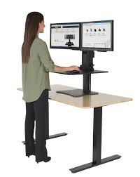Office Depot Standing Desk Converter by Victor High Rise Dc350 Dual Monitor Sit Stand Desk Converter Black