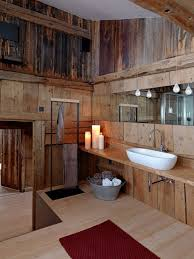 Bathroom Wooden Rustic Decor Ideas Natched With Bright White Sink And Unique Small