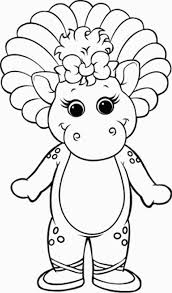 Barney Smiling Happily Coloring Pages For Kids Printable
