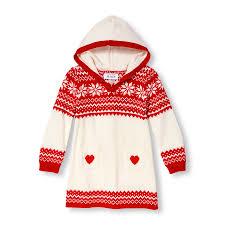 toddler girls long sleeve fair isle hooded sweater dress the