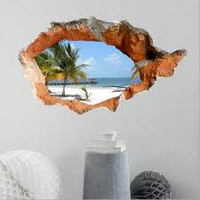 3D Beach Wall Decals 38 Inch Removable Sea Art Stickers Home Decor