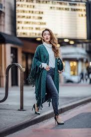 Coat Tumblr Kimono Scarf Knitted Top White Turtleneck Denim Jeans Pumps