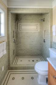 Shower Subway Tile Bathroom Craftsman With Accent Tiles Floor