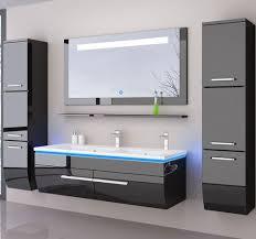 doppelwaschtisch 120 cm schwarz hochglanz doppelwaschbecken badmöbel set bad led system fertig montiert