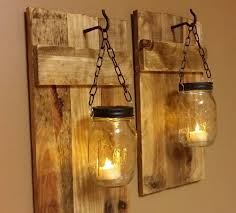 Outdoor Wall Lighting Ideas With DIY Hanging Mason Jar Candle Holders Wire And Reclaimed Wood