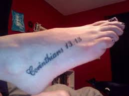 Bible Verse Corinthians 1313 Tattoo Design On Feet