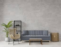 wohnzimmer im loungestil mit rohem beton holzfußboden