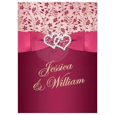 Great Burgundy Rose Pink And Gold Floral Wedding Invitations With Joined Jewel