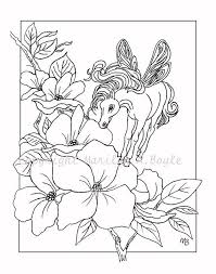 ADULT COLORING PAGE Digital Download Fantasy By OriginalSandMore Horse FlowersAdult Coloring PagesColoring
