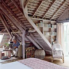 Rustic Beach Attic Bedroom With Reading Nook