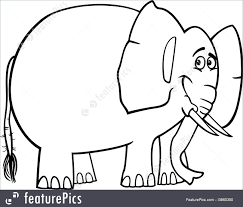 Wildlife Animals Black And White Cartoon Illustration Of Cute African Elephant For Coloring Book