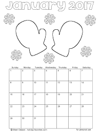 January 2017 Mitten Calendar Coloring Page