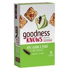goodnessKNOWS Gluten Free Snack Square Bars Apple Almond Peanut