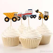 großhandel 48 stücke papier lkw traktor kuchen topper segeln obst aufkleber cupcake dekoration kinder geburtstag supplies dec071 ls crystal