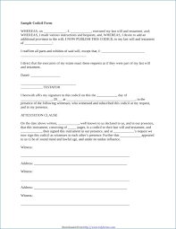 Unique Nice Codicil Template Free Gallery How To Write A Will