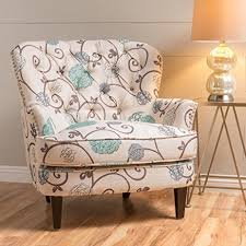 alfred white and blue floral fabric upholstered club