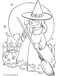 Little Girl Wearing A Witch Costume For Halloween Coloring Page