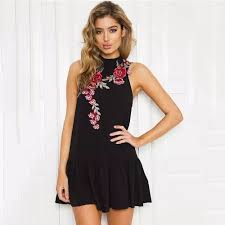 floral embroidered women sleeveless vintage black beach holiday
