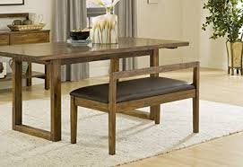 Modus Furniture Alba Solid Wood Dining Bench With Recycled Leather Seat Amazoncouk Kitchen Home