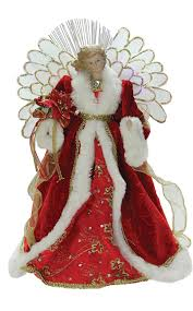 Lighted Fiber Optic Angel With Red Gown Christmas Tree Topper Tap To Expand