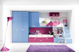 Bedroom Marvelous Space Saving Ideas For Small Kids Bedrooms Blue Wooden Storage Combined With Pink Bed And Study Table Also Stairs