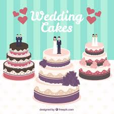 Wedding cakes illustration Free Vector