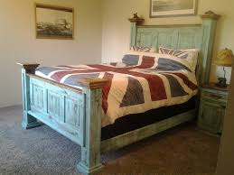 Rustic Queen Bed In Turquoise Colour Price 699