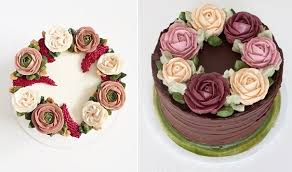 buttercream flowers chocolate cake and buttercream flowers floral garland cake by Miso Bakes