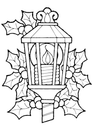 Click To See Printable Version Of Christmas Lantern And Holly Coloring Page