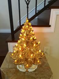 Atlantic Mold Ceramic Christmas Tree History by Gold Ceramic Christmas Tree Circa 1968 Mid Century Christmas