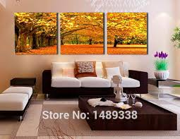 3 Piece Wall Art Modern Abstract Large Cheap Autumn Maple Leaves Woods Oil Painting On Canvas