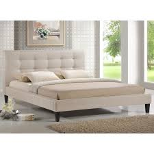 baxton studio quincy light beige linen platform bed king size