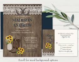 Rustic Wedding Invitation Set Printable Sunflower Invites Mason Jar Lace Barn Wood Horseshoe Cowboy Boots