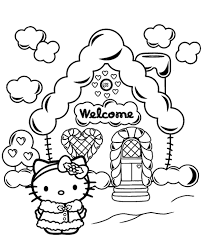 House Of Hello Kitty Printable Coloring Page