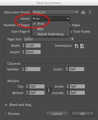 Figure 2 In InDesigns New Document Dialog Box Select The Print Intent