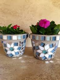 Mosaic Flower Pot Set Small Rustic Glass Succulent Pots Outdoor Planter Window Kitchen Herb Storage Handmade Art Patio